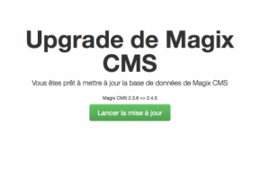 Upgrade de l'installation de Magix CMS