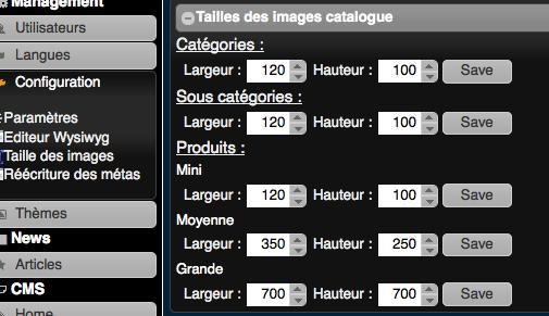 Configuration de la taille des images